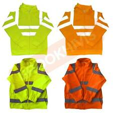 HIGH VISIBILITY HI VIZ VIS TOP HOODIE FLEECE BODY REFLECTIVE SAFETY WORK WEAR
