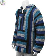 Hoodie Mexican Baja Jerga Festival Hooded Hippy Jumper Surf hoody Blue Mix