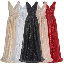 Sexy Bling Long Bridesmaid Evening Formal Party Cocktail Ball Gown Prom Dress
