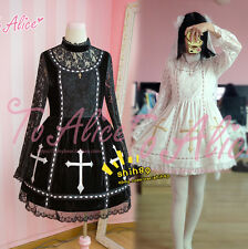 Harajuku Gothic Cross Sweet Lolita Lace Long Sleeve Princess Dress Black + White