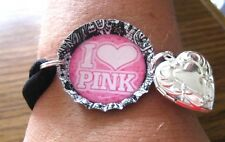 "NEW ""PINK""  Themed BOTTLE CAP with NYLON BRACELET Opt. Charm-O/S YOUR CHOICE"