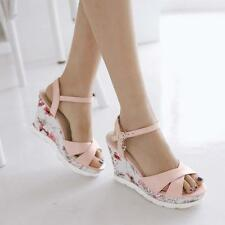 Vogue Womens Sandals Floral Wedge Heel Platform Open Toe Ankle Strappy Shoes