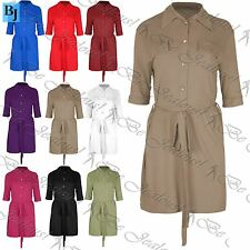 Ladies Shirt Dress Womens Belted Gold Buttons Short 3/4 Sleeve Oversize Collared