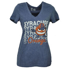 NCAA Syracuse Orange Womens Tshirt Tee Repeat Logo Blue V Neck Short Sleeve