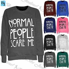 Ladies Womens Normal People Scare Me Print Knitted Jumper Sweater Sweatshirt Top