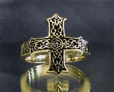 BRONZE RING WITH CELTIC KNOT CROSS ANTIQUED ANY SIZE