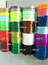 22 Metres SINGLE FACED SIDED  SATIN RIBBON 6,10,15,20mm- Many Colours