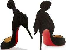 Christian Louboutin BARBARA 100 Suede Peep Toe Bow Heel Pump Shoes Black $995