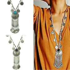 Portable Vintage Coin Long Pendant Necklace Chain Gypsy Tribal Ethnic Jewelry