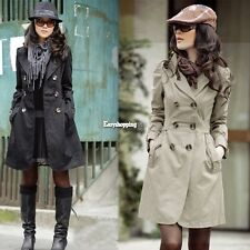 Womens Fashion Long Sleeve Slim Trench Double Breasted Coat Jacket Outwear ES9P