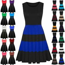 Womens Ladies Sleeveless Color Blocks Stripe Panel Franki Skater Dress Plus Size