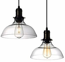 Modern Country Clear Vintage Glass Ceiling Lamp Shade Fixture Pendant Light LED