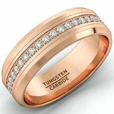 Mens Wedding Band Rose Gold 8mm Tungsten Ring Polished Beveled Edge Comfort Fit
