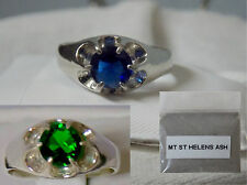 1ct blue or green helenite 925 sterling silver ring size 6 mt st helens ash