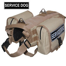 Tactical Service Dog Harness Molle Dog Vest + 2 Pockets Bags + 2 Magic Patches