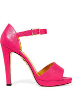 Charlotte Olympia Pink Lizard effect leather platform sandals shoes IT 37 / 38.5