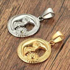 Silver/Gold Vogue Round Moon Sun Stainless Steel Pendant Necklace Mens Jewelry