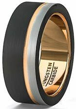 Mens Wedding Band 8mm Black White Brushed Tungsten Ring Thin Side Rose Gold