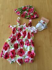 NWT Gymboree Tropical Petals Floral Knit Romper Hat Socks set 0-3 mo Gift baby