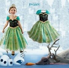 New Disney Frozen Princess Anna Girls Kids Dress Skirt Cosplay Costume