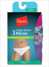 6 Pair Hanes Women's Cotton Stretch Bikini ComfortSoft Waistband #ET42AS