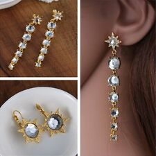 Fashion Elegant Star Pierced Dangle Crystal Ear Stud Rhinestone Earrings Jewelry