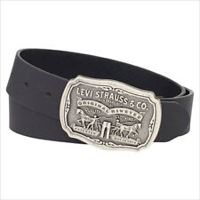 NEW LEVI'S ANTIQUE REMOVABLE BUCKLE BELT GENUINE LEATHER FOR MEN BLACK 11LV02P6