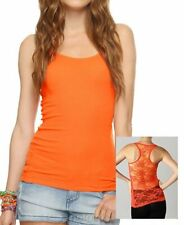 Brand New Neon Orange Full Lace Racerback Stretch Ribbed Solid Tank Top Cami Tee