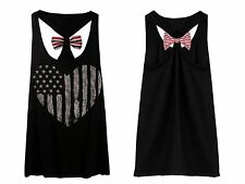 Womens Summer Sexy Vest Tops Sleeveless Backless Bow Printed Tank Top Undershirt