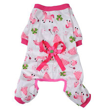 Pet Dogs Cartoon Bowknot Pajamas Coat Cat Puppy Clothing Clothes Jumpsuits
