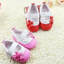 Baby Girls Dot Flower Baby Shoes Soft Sole Toddler PU Leather Crib Shoes 0-18M