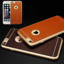 Aluminum Metal Bumper + Genuine Cow Leather Back Cover Case For iPhone 6 6S Plus