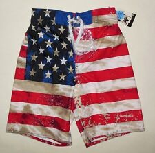 NWT BOYS JOE BOXER AMERICAN FLAG FOURTH OF JULY SWIM TRUNK SHORTS S, XL