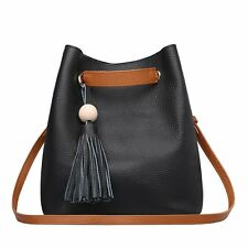 Unique Leisure Hobo Leather Women Handbag Medium Bucket Tote Shoulder Bags