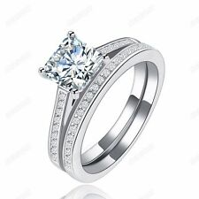 Fashion 2-in-1 Wedding&Engagement Ring Set AAA+ CZ 18K White Gold Plated Jewelry