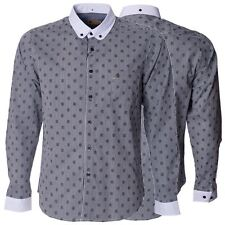 Gabicci Mens Black Cotton Check Knitted Button Down Collared Long Sleeve Shirt
