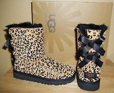 UGG Australia Bailey Bow Leopard Kids Girls Sheepskin Boots Chestnut NIB New