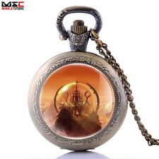 Vintage Antique Retro Pocket Watch Quartz Pendant Necklace Chain Mens Gift New