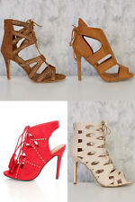 Lot Lace Up Peep Toe Strappy Single Sole Nubuck Booties High Heels Faux Leather