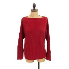 $285 VINCE RIBBED CRIMSON RED CABLE BOATNECK SWEATER BOXY RELAXED TOP XS S B11