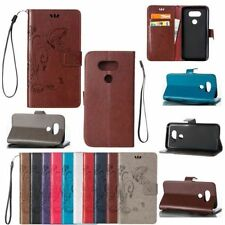 For LG G5 Luxury Flip Leather Credit Cards Slot Stand Wallet W/strap Case Cover