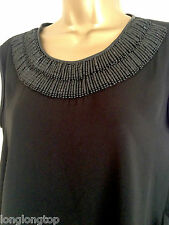 ZARA BLACK EMBELLISHED BEADED APPLIQUE ON COLLAR  BLOUSE TOP NEW