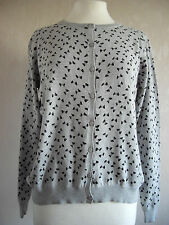 new BHS Authentic - size 10 - lovely Cotton GREY/ bows print cardigan - BNWoT