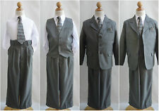 LTO Light olive pinstripe/white wedding pageant recital party boy formal suit