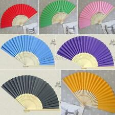 Hot Hand Paper Fans Pocket Folding Bamboo Fan Wedding Party Decoration 17 Colors