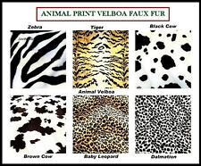 ANIMAL PRINT POLYESTER VELBOA FAUX FUR VELOUR FABRIC (Leopard,Cow,Tiger,Zebra)