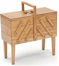 Hobbygift 3-Tier Cantilever Sewing Box With Legs, Wood, Light Shade Wooden/Beige