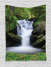 Image of Waterfall Trees Flowers in Forest Mother Nature Wall Hanging Tapestry