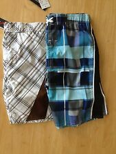 Jantzen Boys Swim trunk SZ 7 8 10 Ivory Brown Blue Plaid NEW