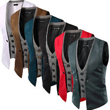 Fashion Mens Casual Suit Vest Slim Dress Formal Waistcoat Business Jacket Coat